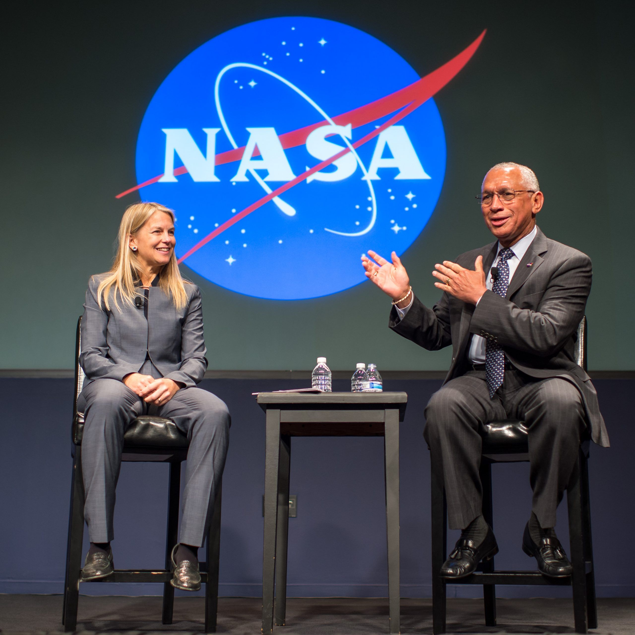 NASA town hall meeting with NASA's new Deputy Administrator Dava Newman and NASA Administrator Charlie Bolden, Tuesday, May 19, 2015 at NASA Headquarters in Washington. Bolden welcomed Newman to NASA and the two spent time talking with employees and taking their questions.  Photo Credit: (NASA/Bill Ingalls)